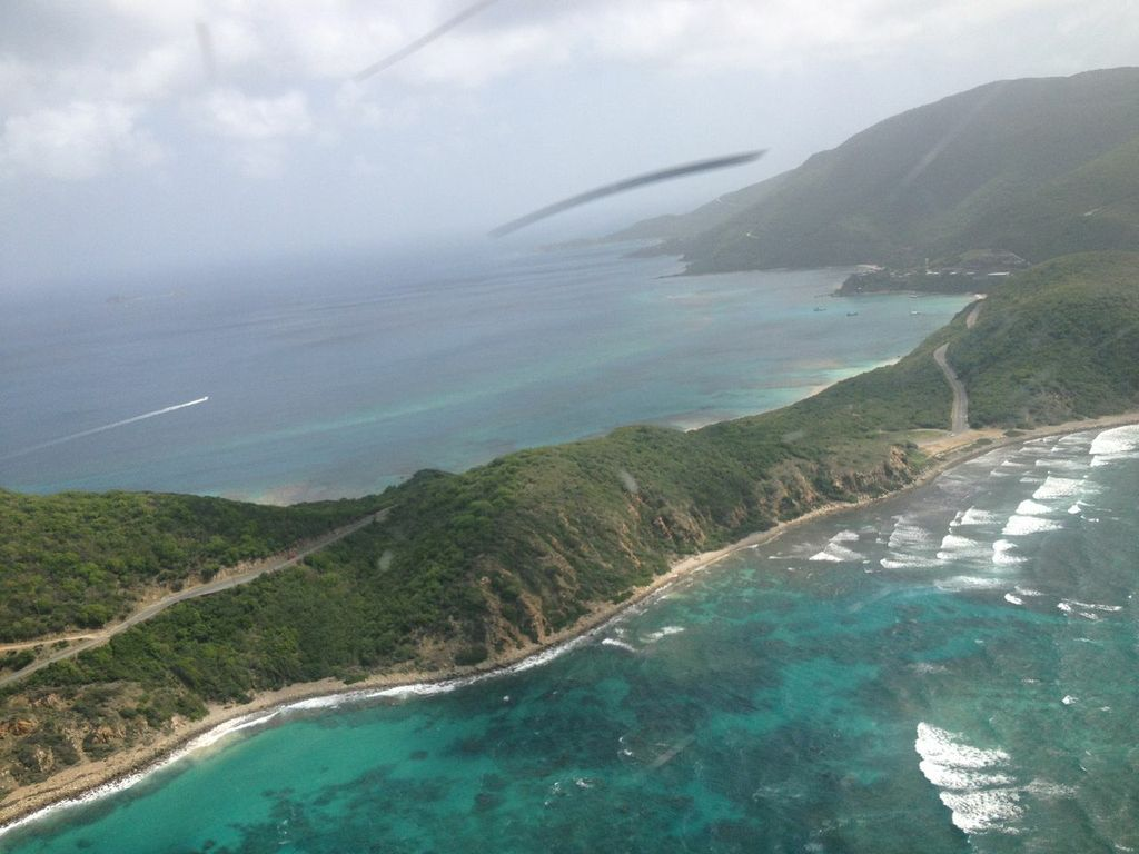 Flying over Virgin Gorda