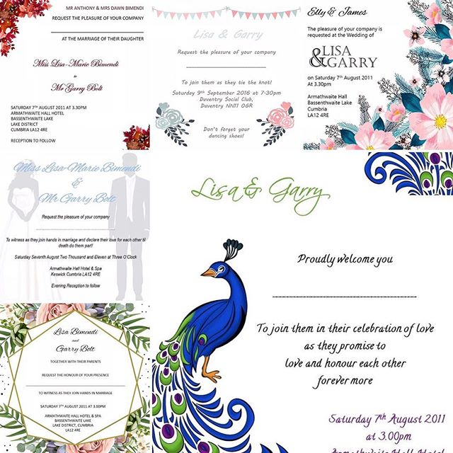 Put anyone of these designs in one of our pocketfolds for just £1.50!! Includes rsvp & additional info card. (T&Cs apply)  While stocks last! #sapphirestationery #invitations #invites #wedding #weddinginvitations #weddinginvites #specialoccasions #pocketfold #pocketfoldinvitation #pocketfoldinvites #pocketfoldinvitations #birthdayinvites #partyinvitations