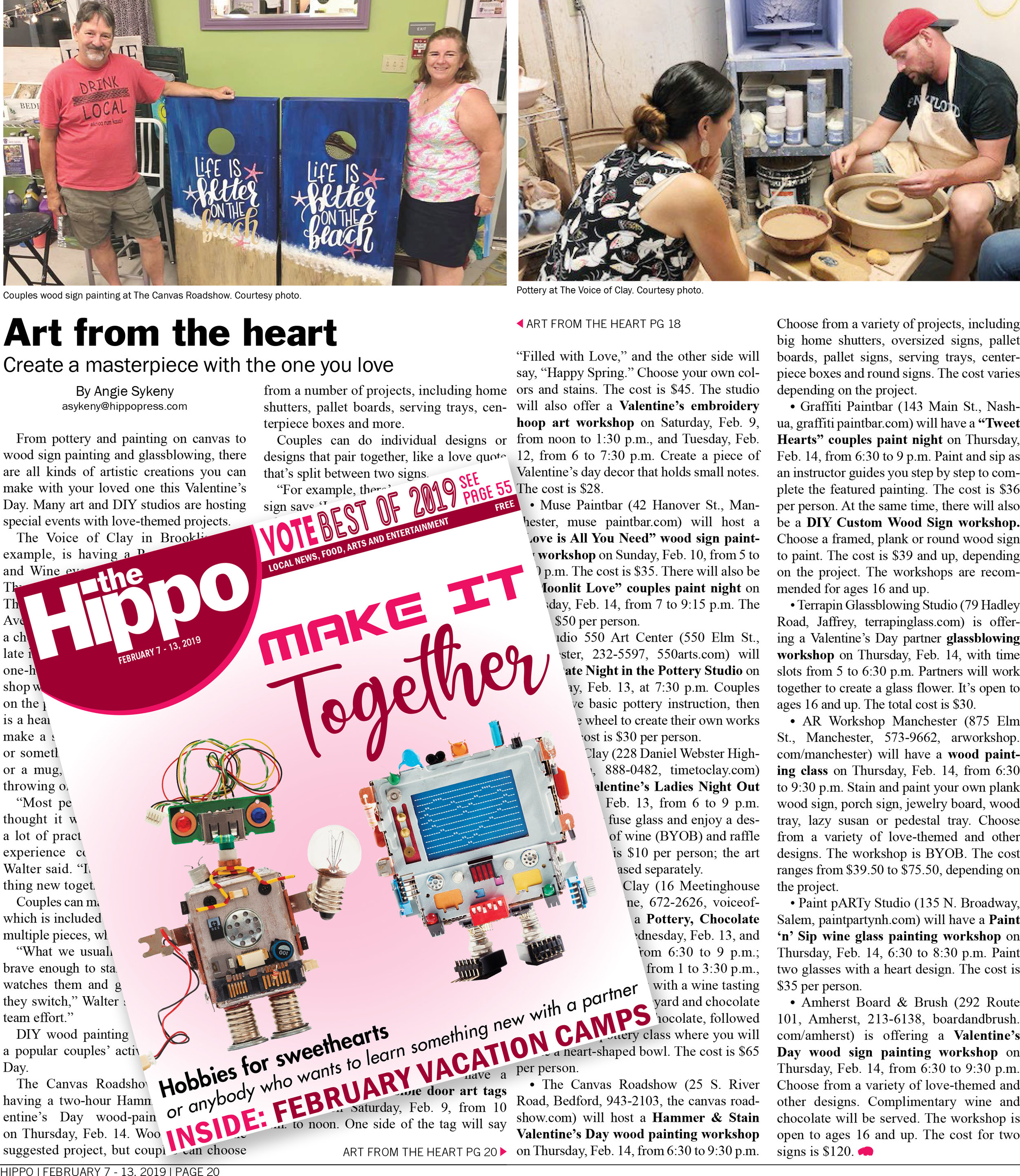 Art from the Heart |   THE HIPPO    | February 2019    Read the entire article .