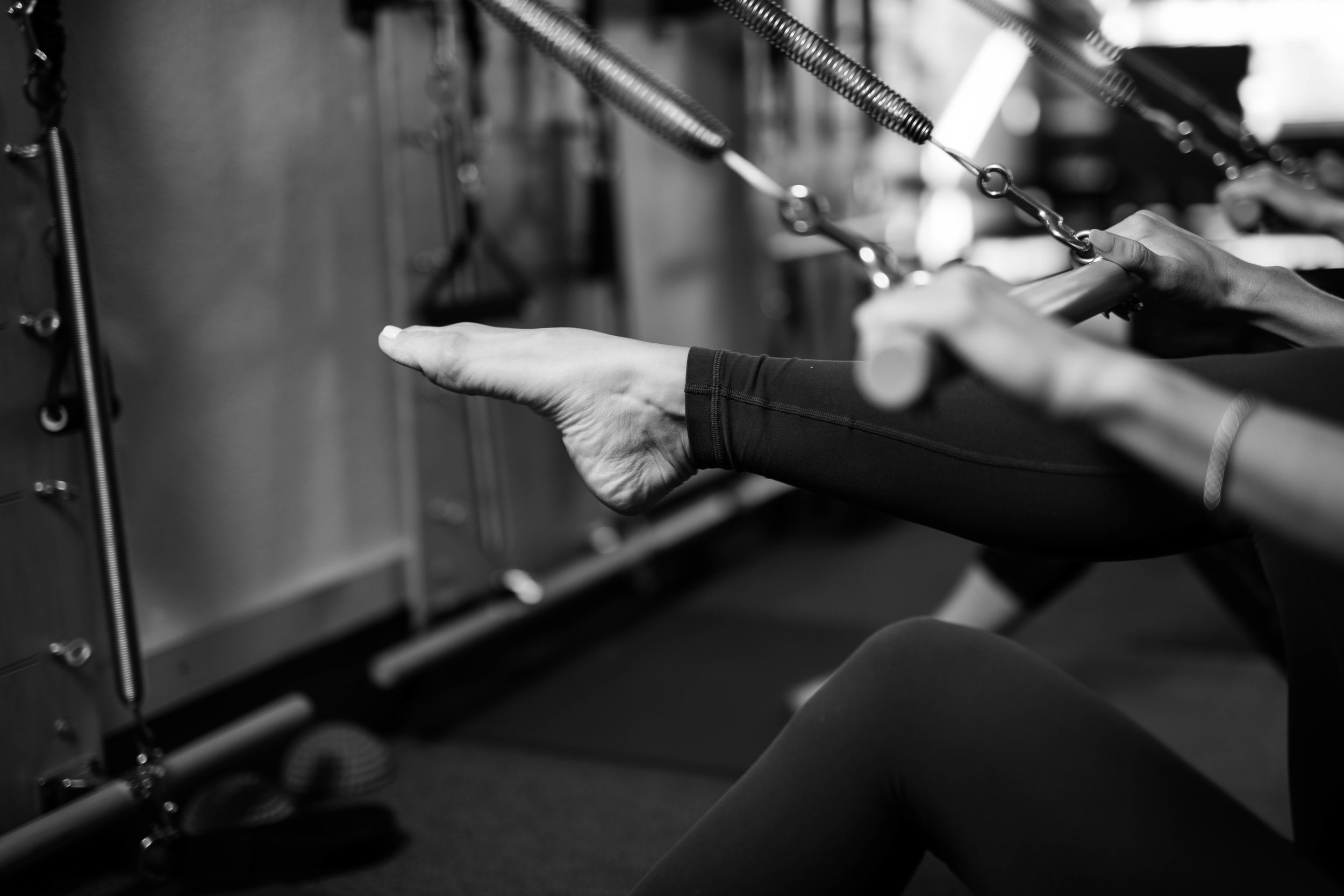 Pilates springboard pointed toes