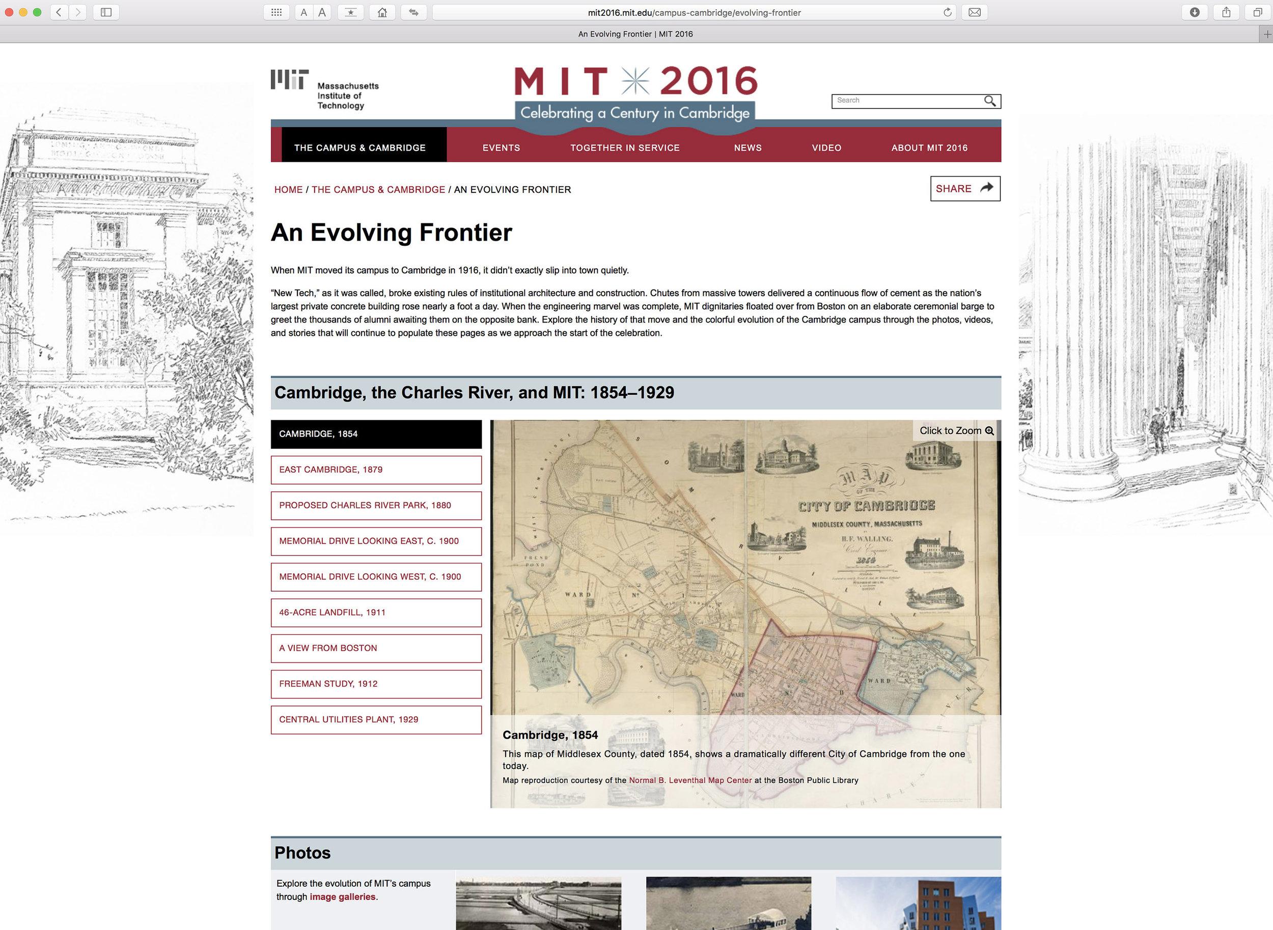 MIT 2016 website, 2nd level page