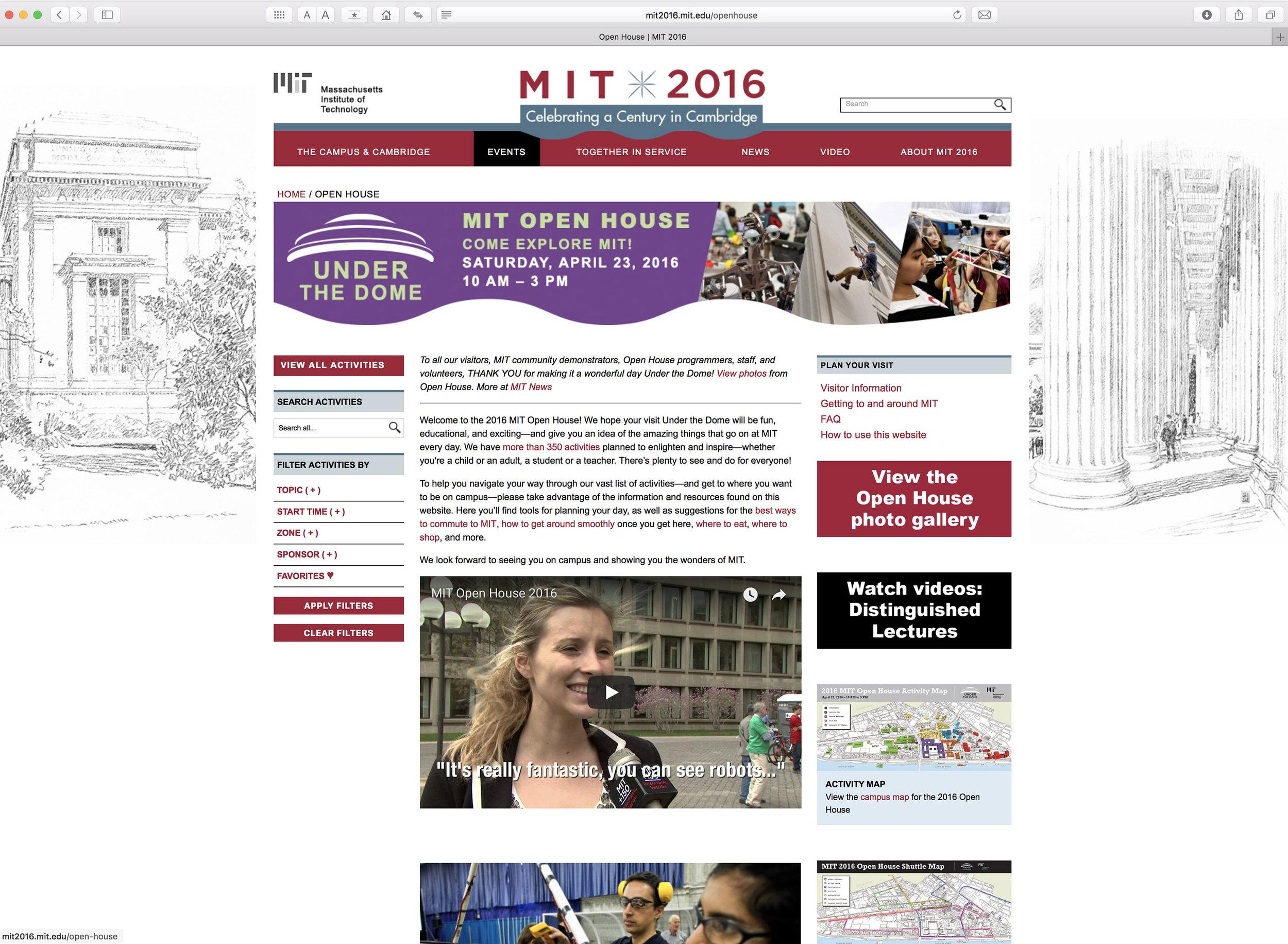 MIT 2016 website, Open House