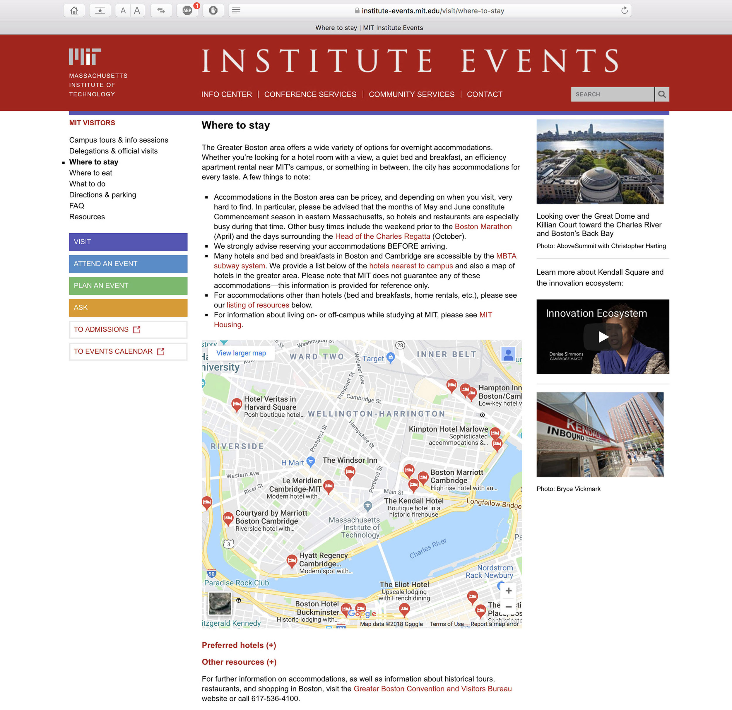 MIT Institute Events, 2nd level page