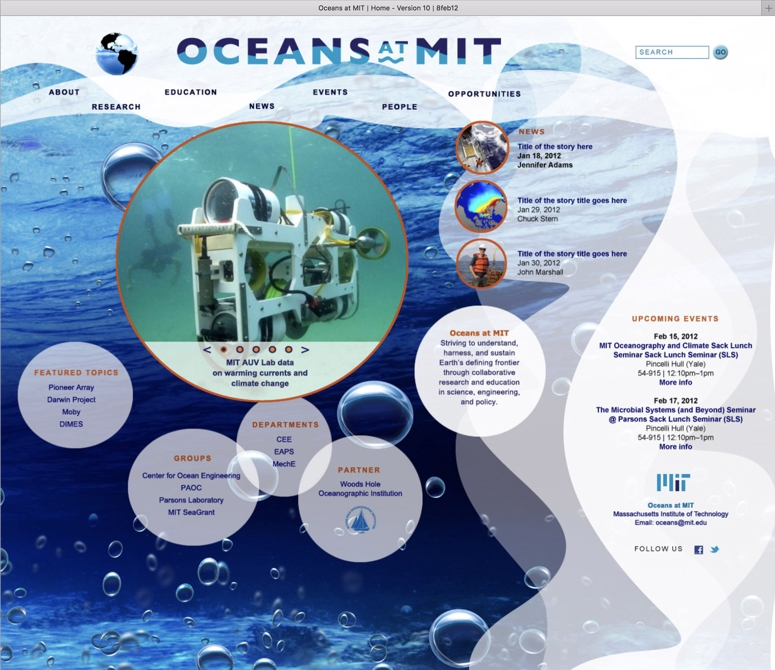 Mockup for Oceans at MIT website, 1 of 3