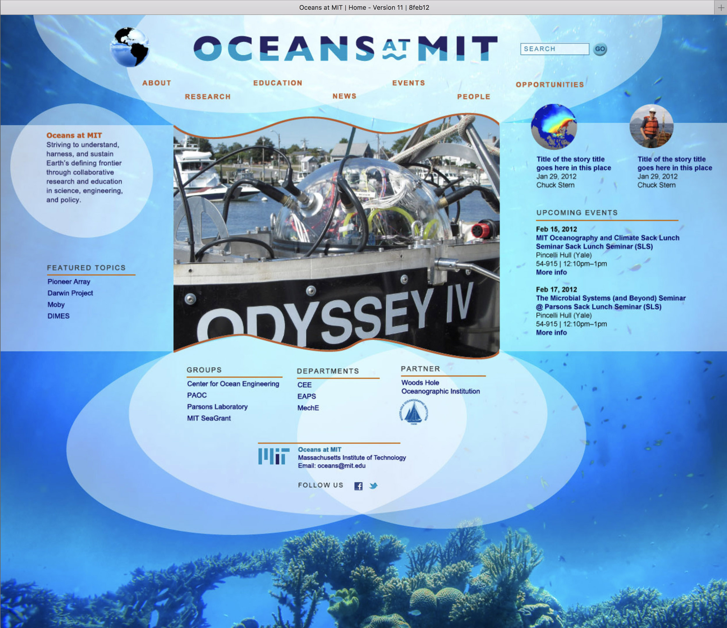 Mockup for Oceans at MIT website, 3 of 3