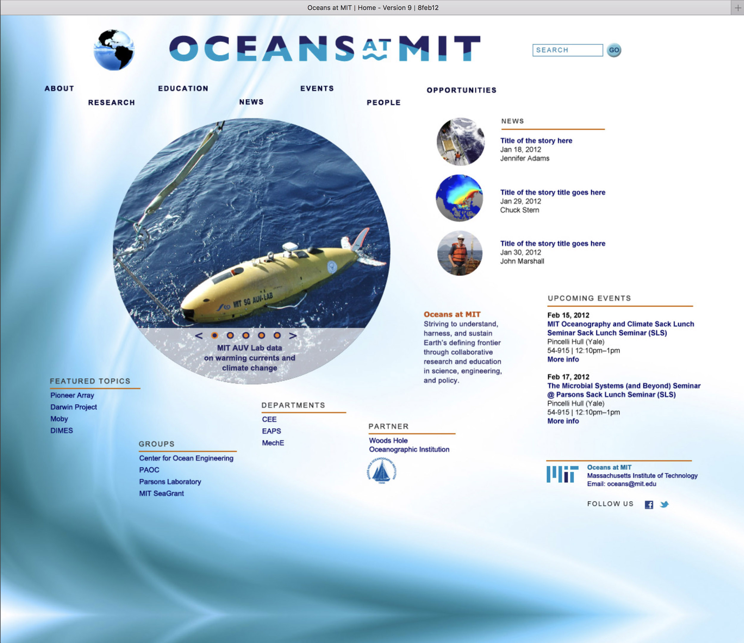 Mockup for Oceans at MIT website, 2 of 3