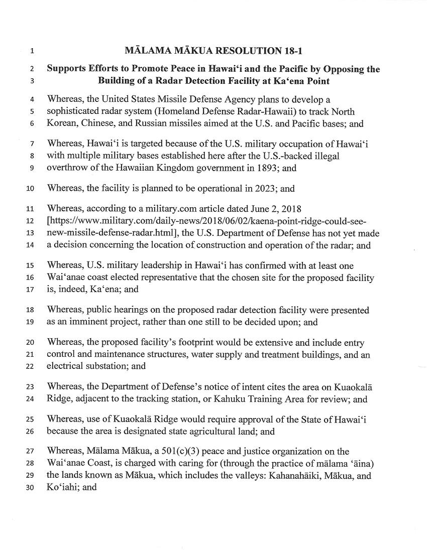 page1 18-1 Mālama Mākua Resolution Against Radar at Kaʻena.jpg