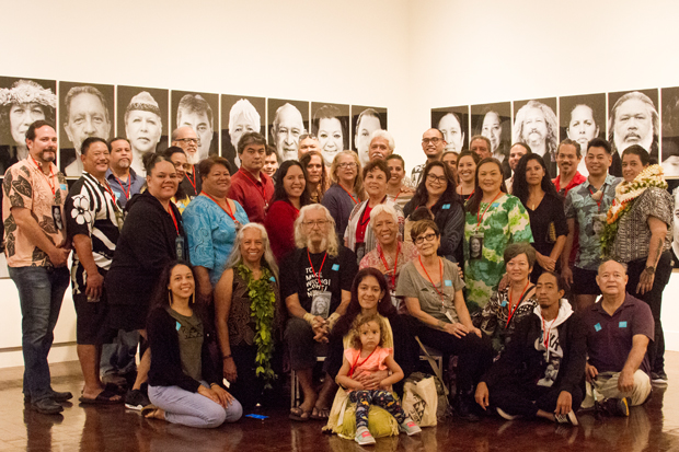 On March 9, 2019, Hawaiʻi-based artist Kapulani Landgraf hosted a viewing of the installation for project participants, some of which are pictured here, including Rodrigues, Cruz, along with Mālama Mākua Kiaʻi Emily Kandagawa and Ulu Eli. More than 80 attended, and their connection with the work—and with each other—was palpable. For more on the project and the artist click on this image.