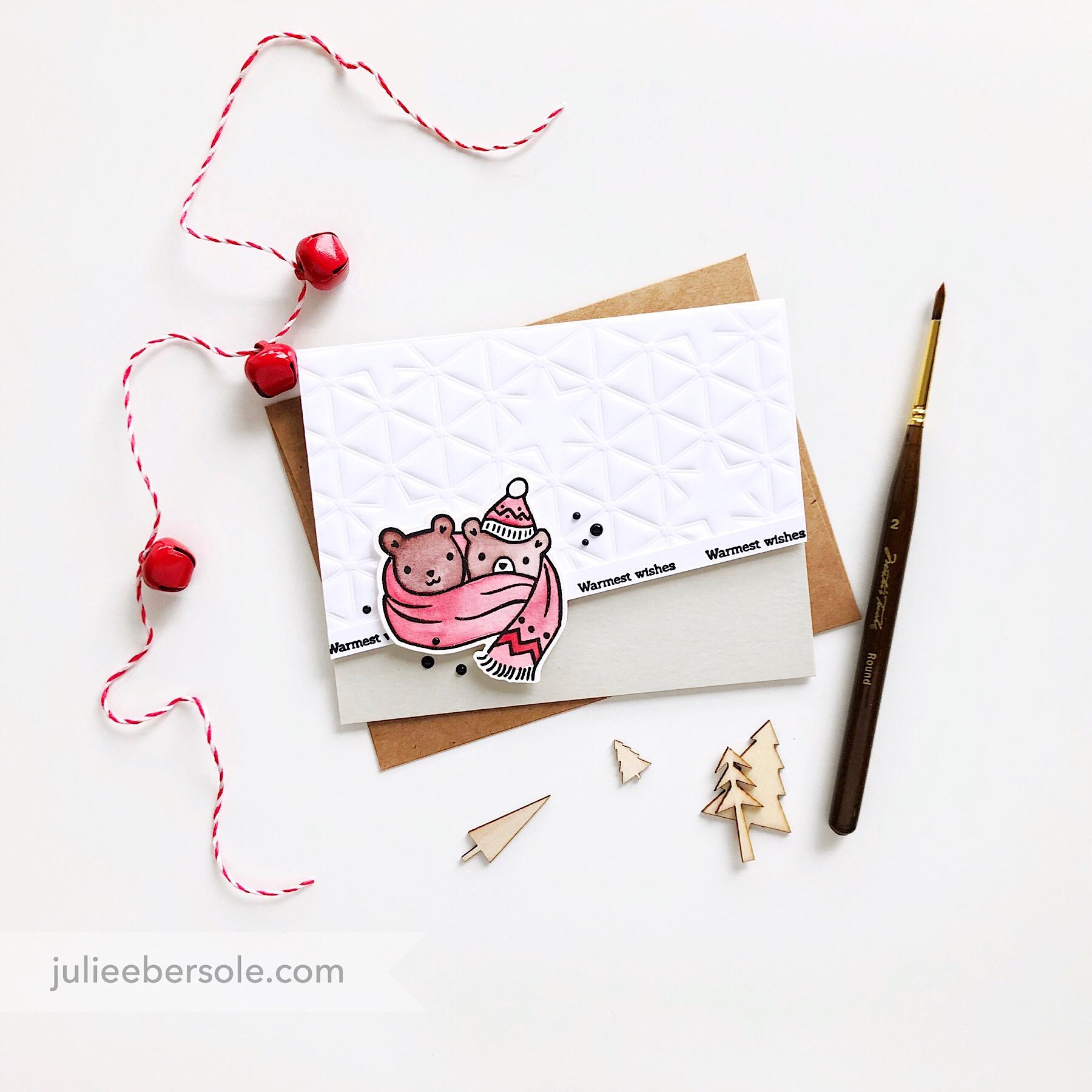 Featured:  H  a  ppy Hugs Stamp Set ,  Happy Hugs Die Set ,  Geo Star 2 Die ,  Pinkfresh Studio Liquid Watercolors (Plastic bottles)