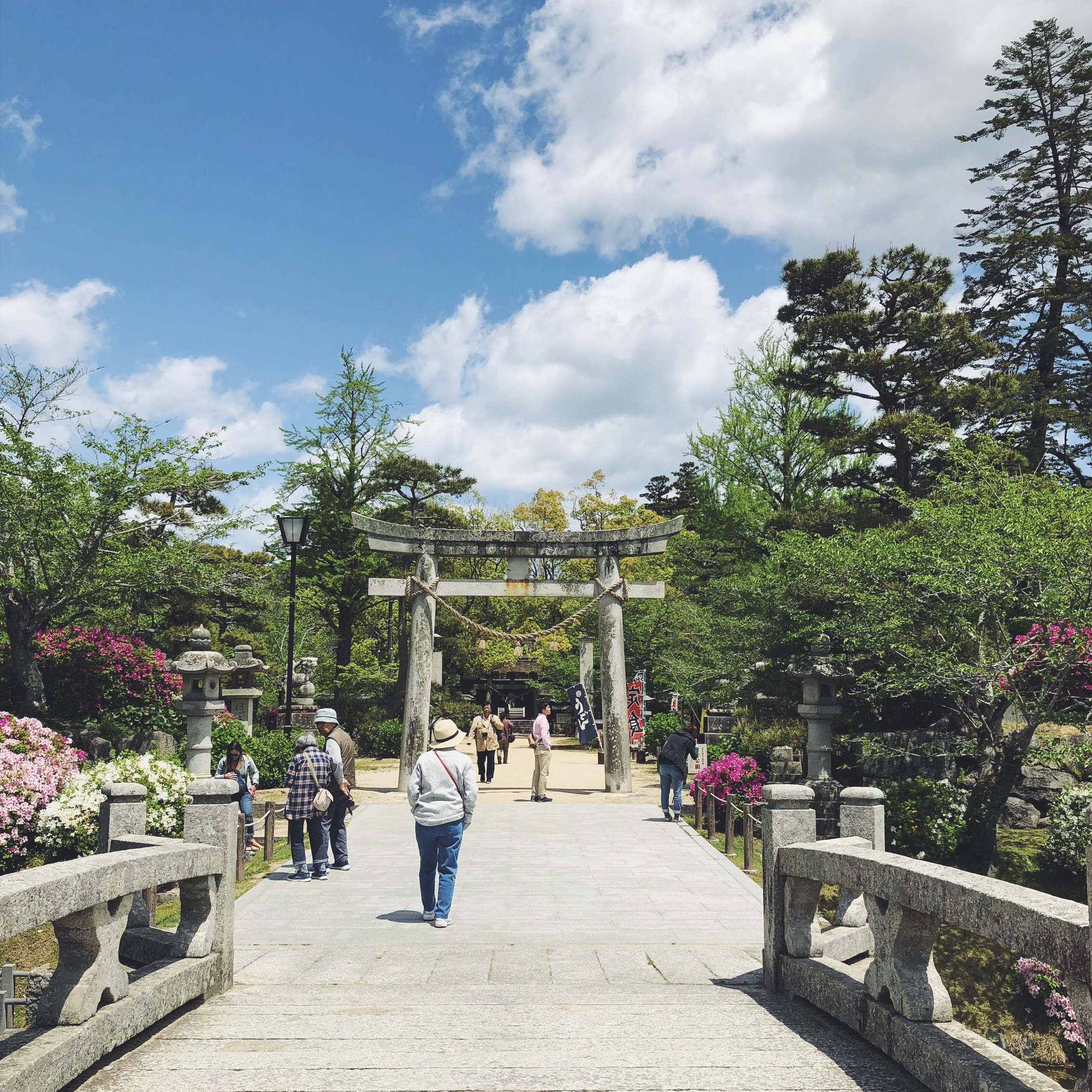 ENTERING THE GARDENS AT KINTAI BRIDGE