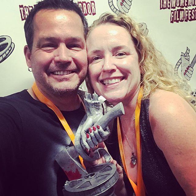 Beyond thrilled to win a Lizzie—this is a bad ass trophy from some bad ass chicks making bad ass flicks 😈💜🎉 Thank you so much @womeninhorrorfilmfestival @samanthakolesnik & @kreepygrrl 💔🔪🎥🎉 #WIHFF #womeninhorror #chicksmakeflicks