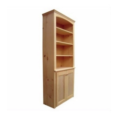 Bookcase With Doors - Berkshire - Classic Bookcase Hutch Mid-Depth - Unfinished.jpg