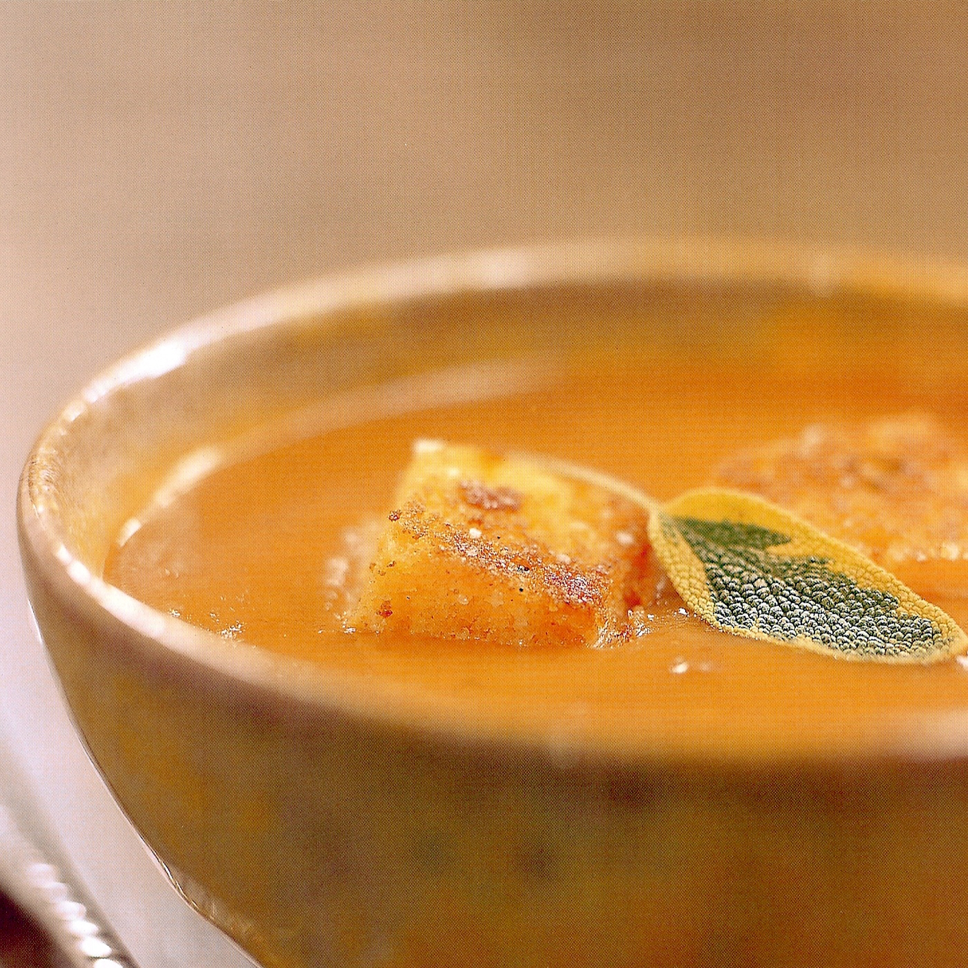 Roasted Butternut Squash Soup with Tomatoes, Thyme, and Corn Bread Croutons.jpg