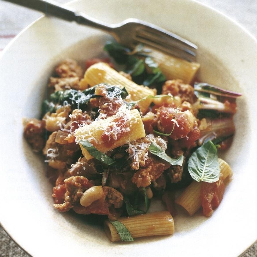 rigatoni with sausage, cannellini bean, and swiss chard ragu copy.jpg