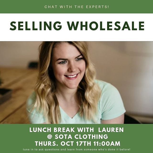 Tune in to our Lunch Break webinar today at 11am CST! Lauren from Sota Clothing is talking all about selling wholesale to boutiques and big brands like Target and REI! ⠀ .⠀ Link in profile to register!⠀ .⠀ Next week we're talking with Chicago company W&W inc about what you need for your inside tags and hang tags. We know you have questions about which kind to use and where- tune in and get your questions answered!⠀ .⠀ .⠀ .⠀ #production #apparel #design #fashion #learn #business #madeinusa #thesewop #community #apparelCEO