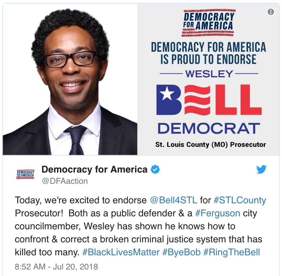 Democracy For America Endorses Wesley Bell