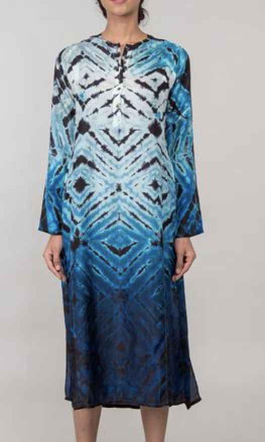 The Satayam Hand Tie-Dyed Silk Caftan from Jaipur, India.   Click to Shop
