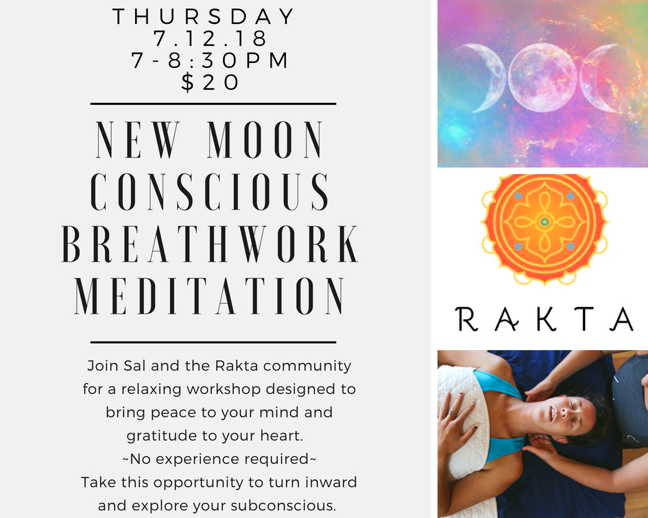 Breathwork at Rakta Hot Yoga Studio in Steamboat Springs, Colorado.  Enjoy this peaceful meditation in celebration of the new moon in Cancer