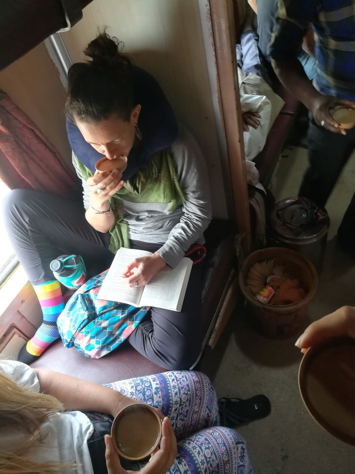 Drinking chai on a train in India, because sometimes the chaos is so loud we need a silent escape.