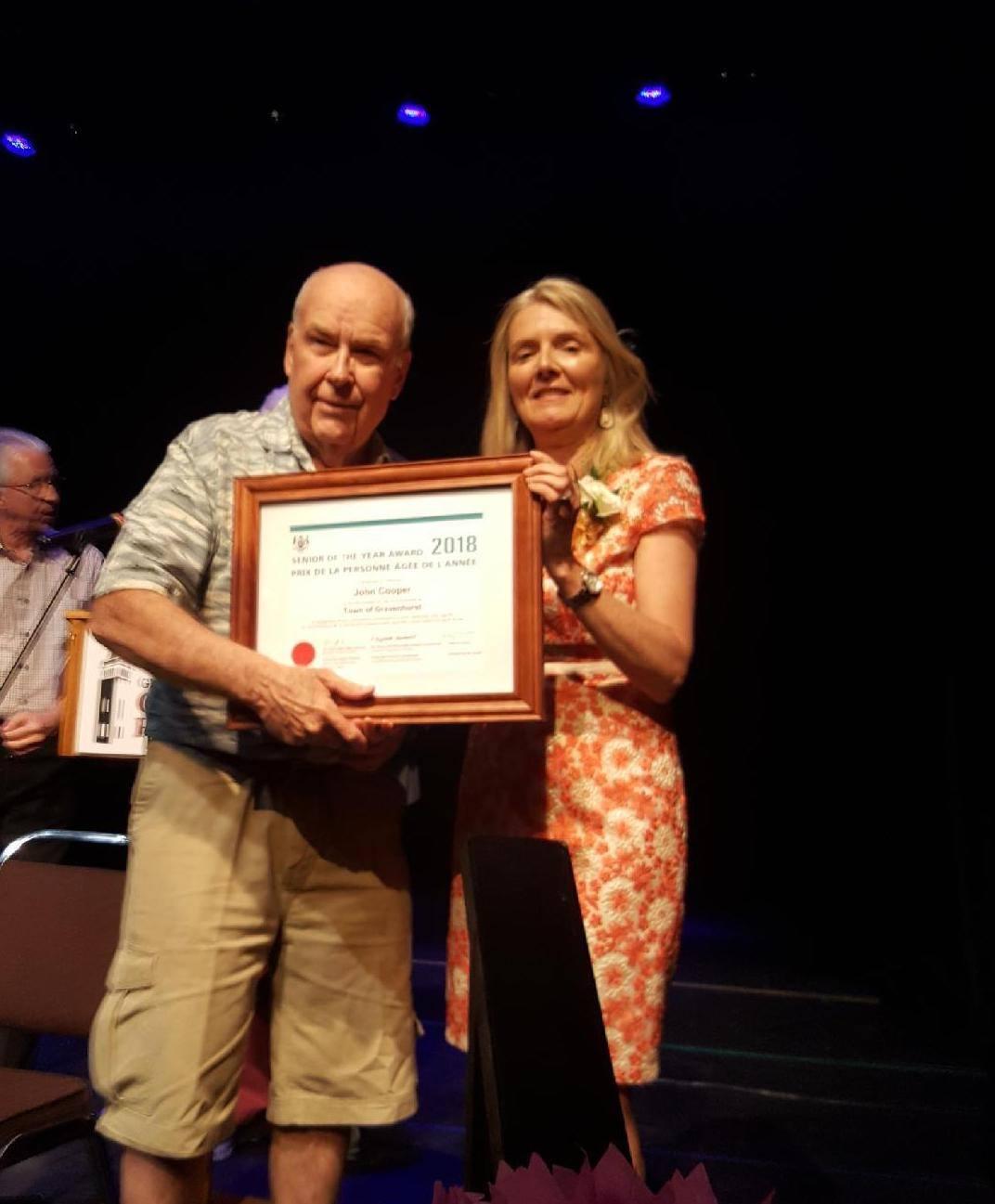 Gravenhurst Senior of the Year Award presented to John Cooper by Mayor Paisley Donaldson.