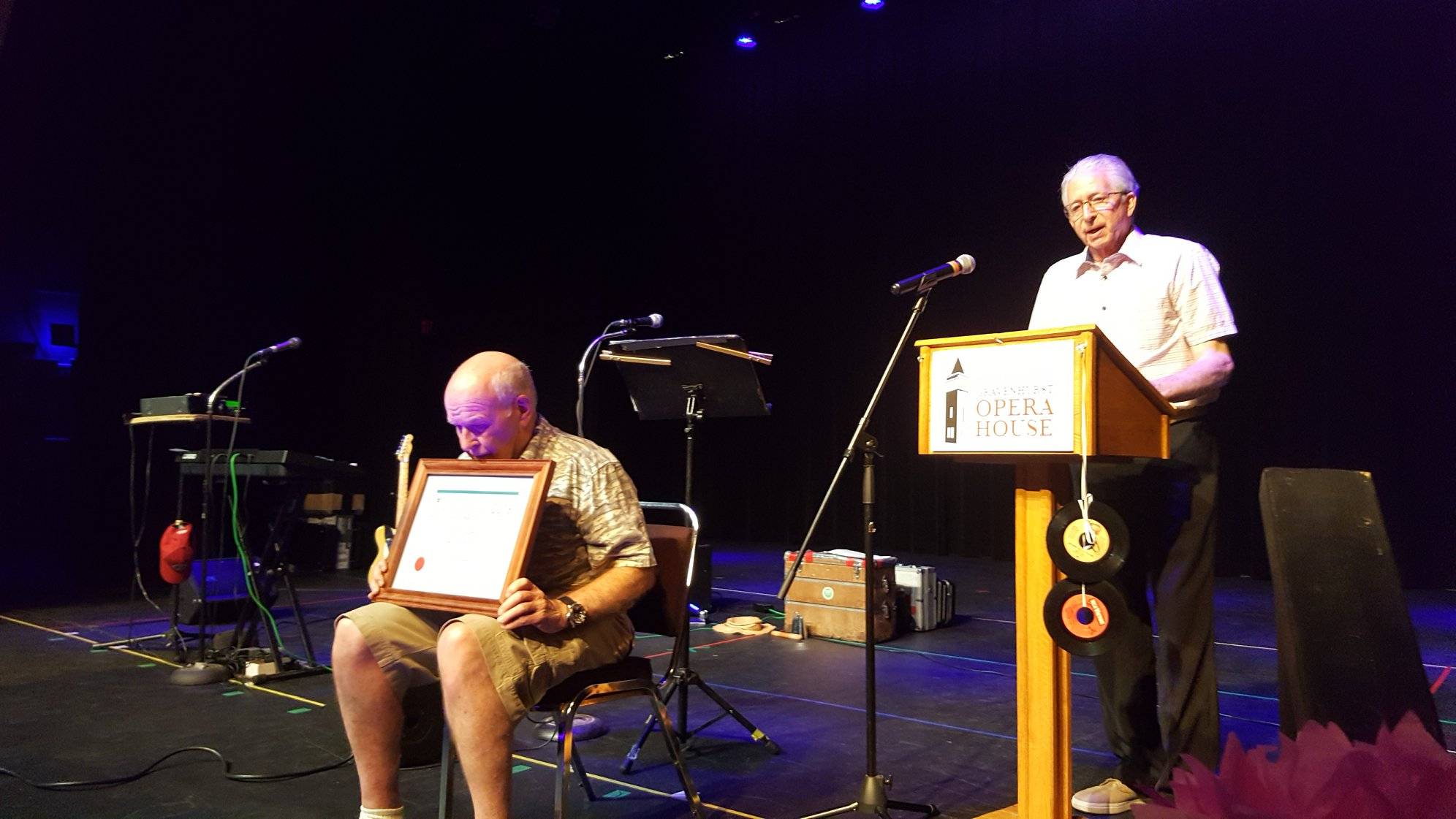 Award winner John Cooper ( sitting with his certificate) and Fred Hurd speaking. Fred was one of the people who nominated John.
