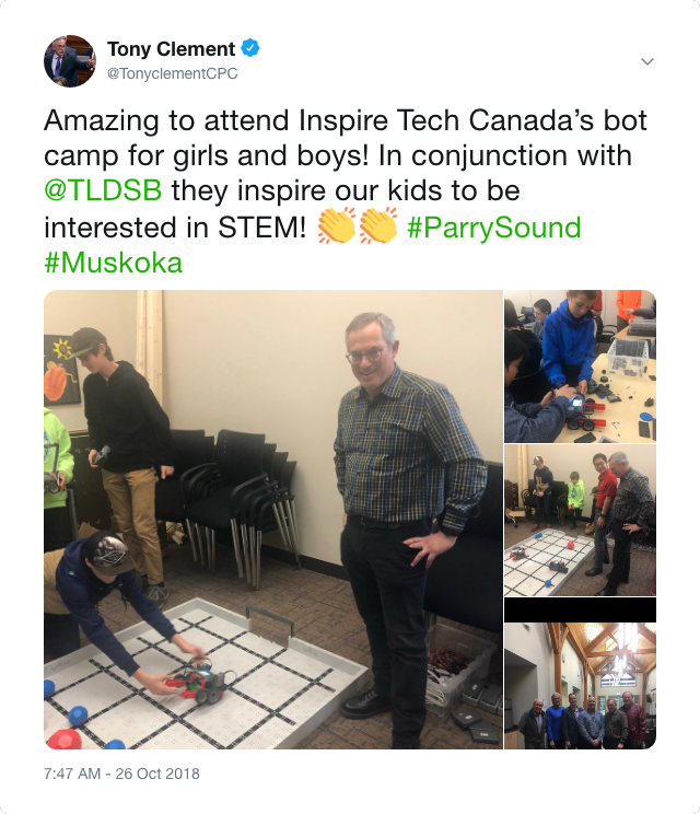 MP Tony Clement's tweet on the event.