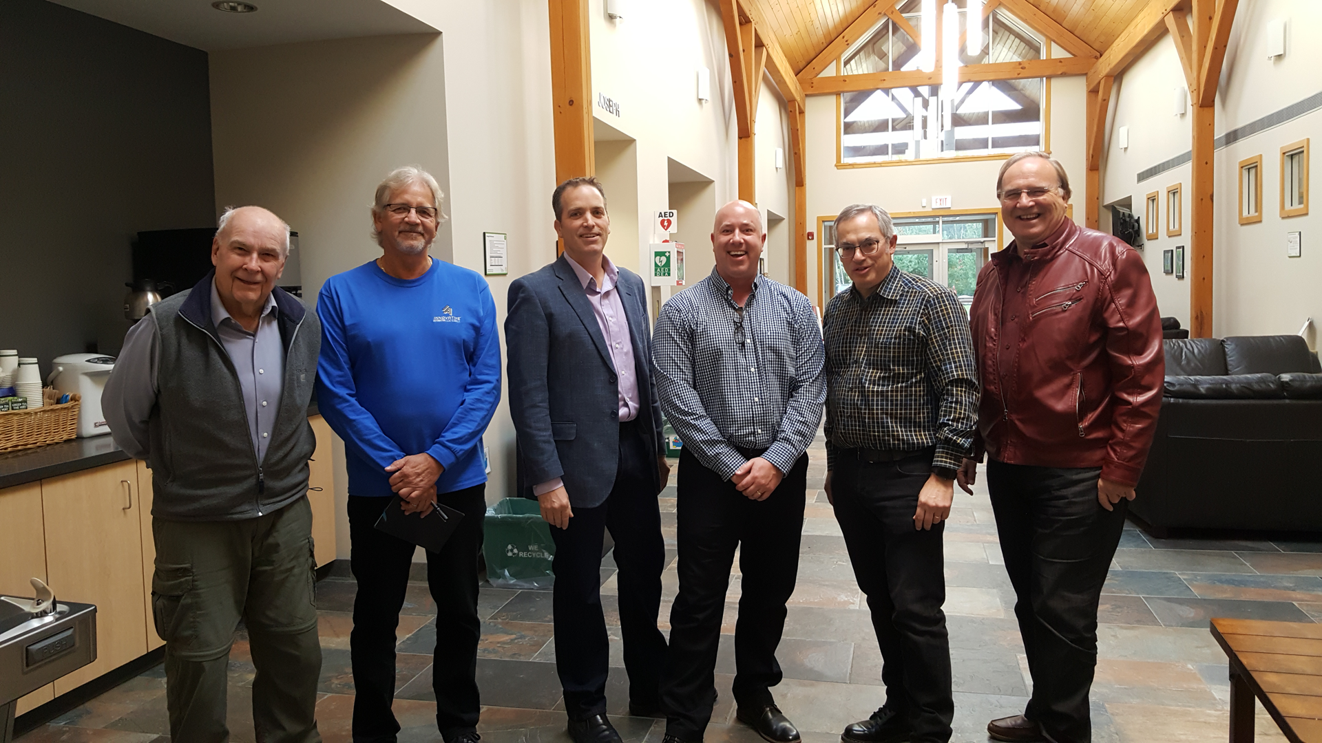 (Photo: left to right) John Cooper from PMCN, James Stobbe from Innovative Automation, Derek Berghout from Royal Bank, Kyle Boyko from InspireTechCanada, Tony Clement and Stuart Morley.