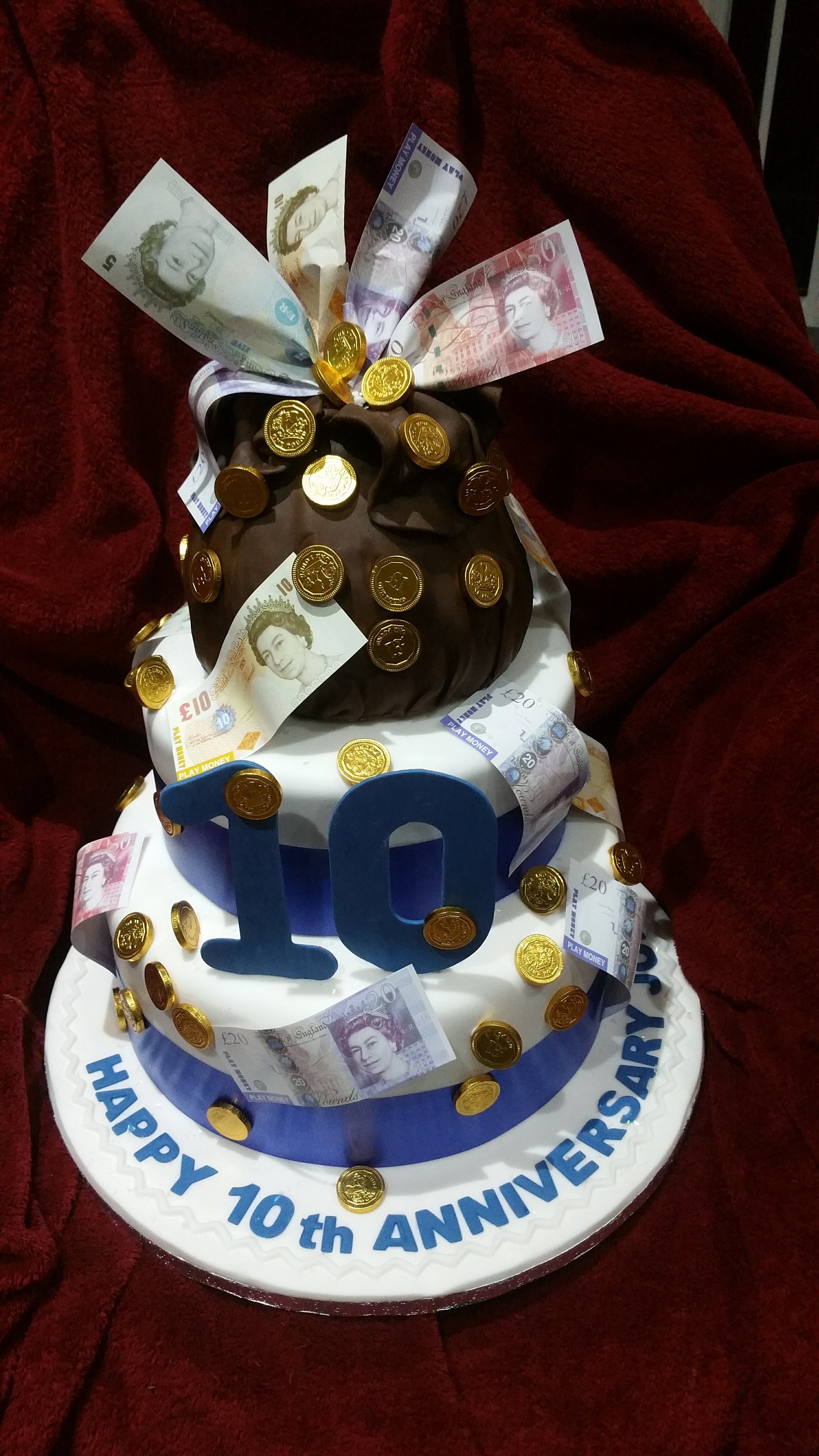 Anniversary for an Accountant - This fun cake was made for an important Accountant in a client's office. We designed and made a money bags cake for him, which he was delighted to receive and share.