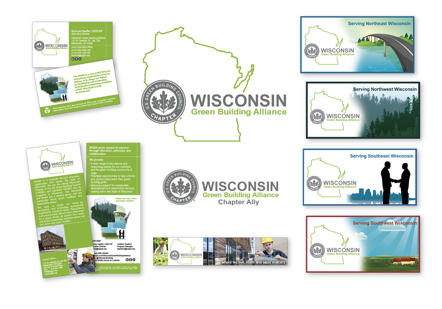 """The Wisconsin Green Building Alliance (WGBA) choose to contract with Evolution Marketing on their organization's rebranding efforts, due to Evolution Marketing's strong commitment to sustainability and their extensive network of local environmentally responsible suppliers (i.e. for ink, printing, paper, signs, etc). Korinne Haeffel WGBA Executive Director further explains, """"We really appreciate the holistic approach to sustainable design and environmentally responsible project management that members of the Evolution Marketing team have brought to our attention. From suggestions regarding sustainably sourced WI made, FSC papers, to recommendations on which print house to use based on the printers sustainability credentials.""""  """"When we tell our sustainable operations story, it is nice to be able to share with our members that Evolution Marketing (our marketing/design team) and Watertown Budget Print (our printer) both align well with our mission by having embraced sustainable operations within their own facilities such as implementing composting programs at their respective offices. It is wonderful to have found a trustworthy organization that has sustainability interwoven into everything they do,"""" Haeffel explained."""
