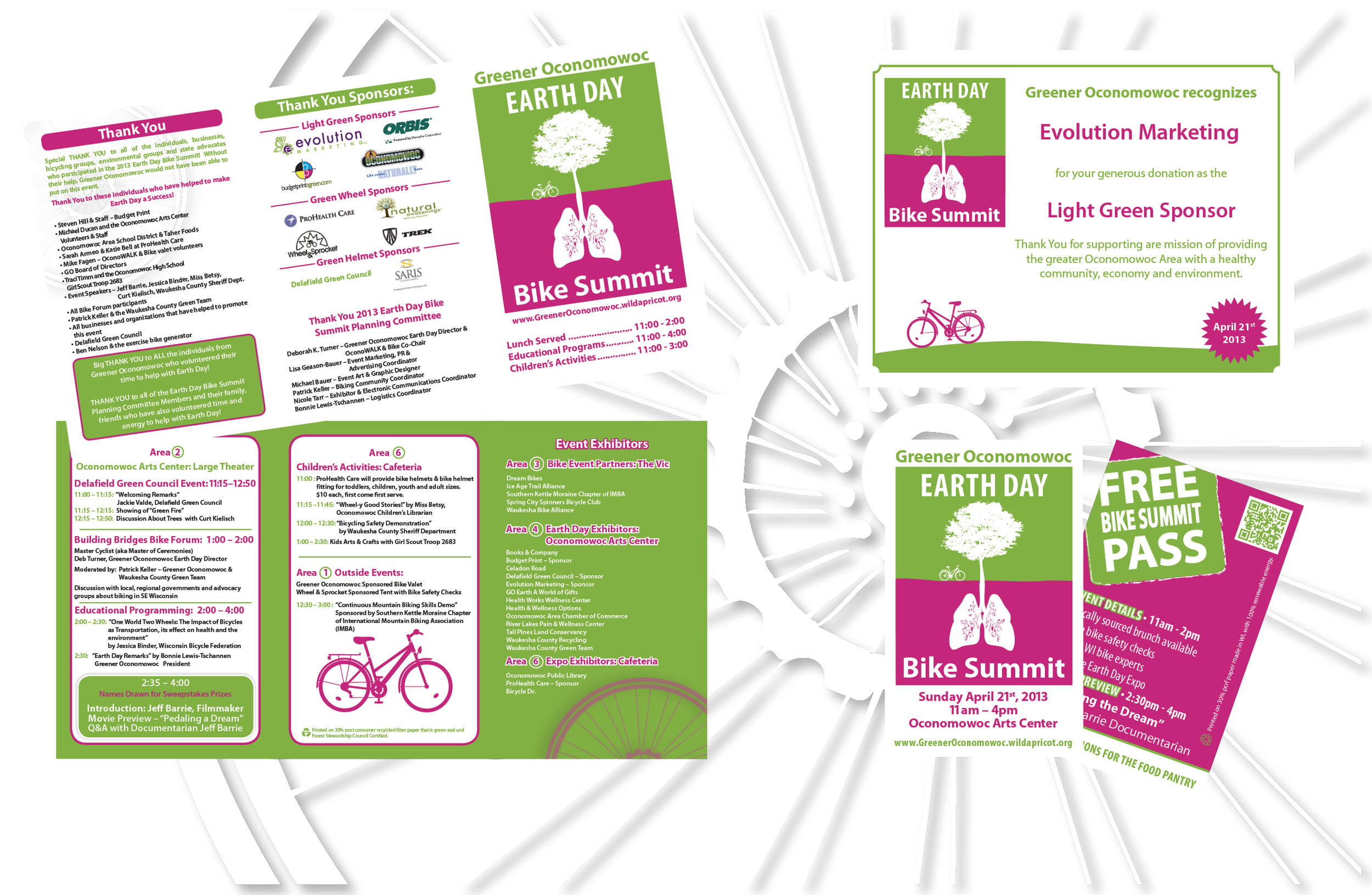 """Artwork above created for Greener Oconomowoc's 2013 Earth Day Bike Summit Event. Included in the overall event design were a small """"Free Event Pass"""" (pictured above right), event posters (not pictured), 6 page Event Program (pictured above left) and """"Thank You Certificates"""" for all sponsors (pictured above right). Evolution Marketing won a 2013 American Graphic Design Award within the category of Environmental Graphics and/or Pro Bono Projects for this artwork."""