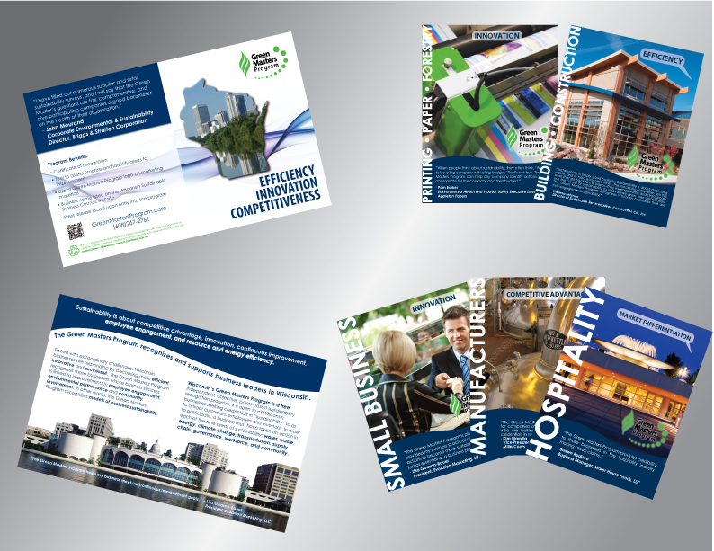 The WI Sustainable Business Council re-branded marketing materials (pictured above: Green Masters Program brochure with niche market inserts) won a 2012 American Graphic Design Award within the Public Service and Pro Bono Projects category