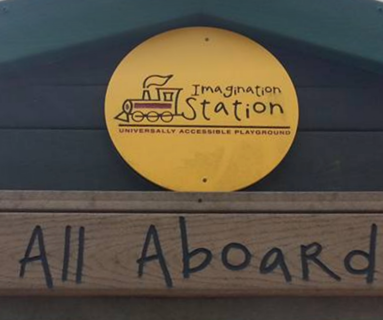 Welcome sign for Imagination Station