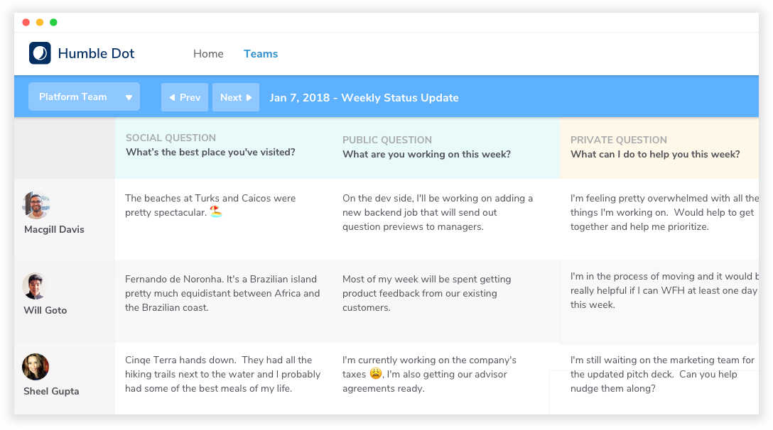 Grid view optimized to see high level updates from each member of the team, with Social, Public and Private questions.