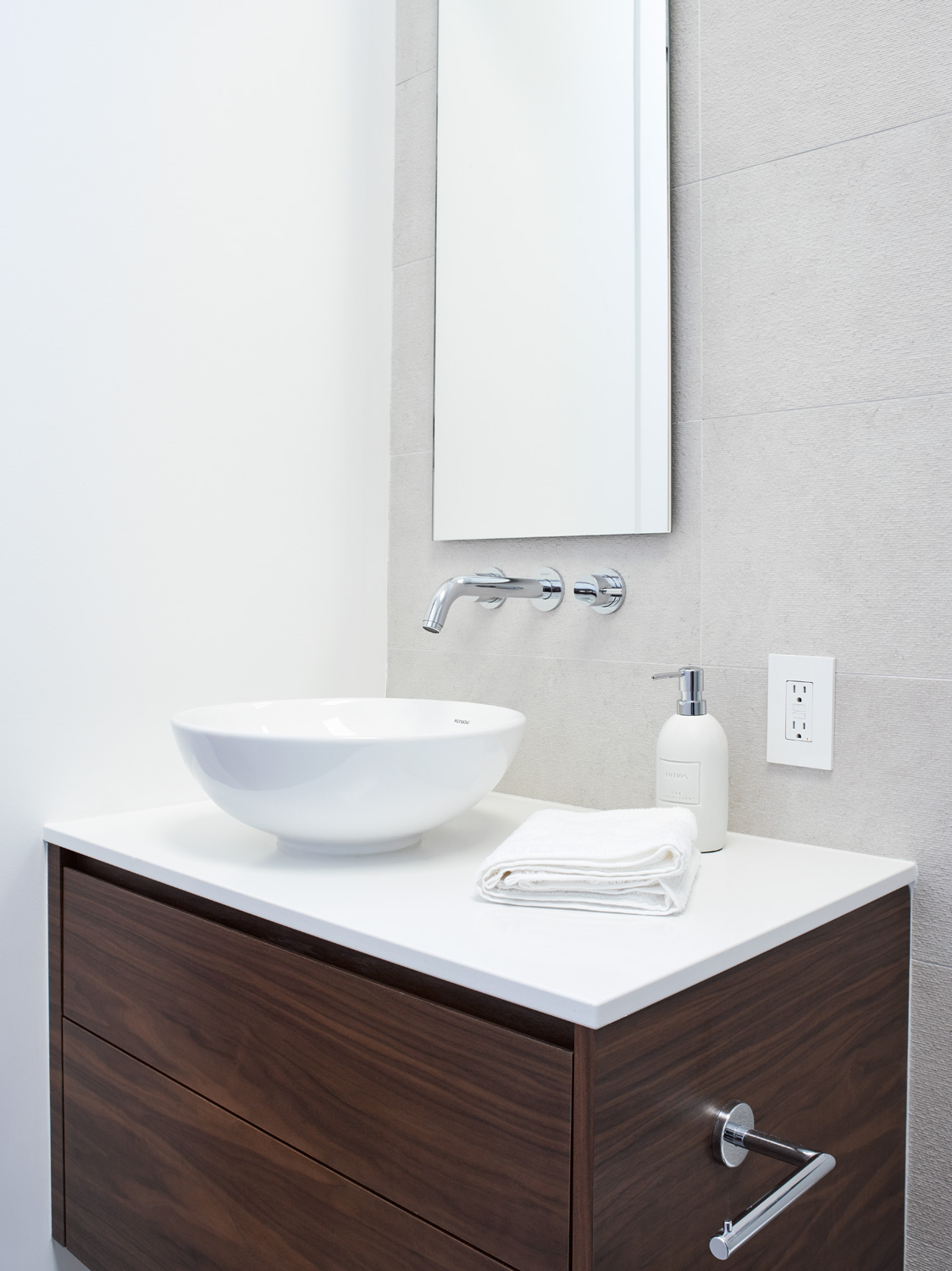 Modern Small Vanity with Vessel SInk