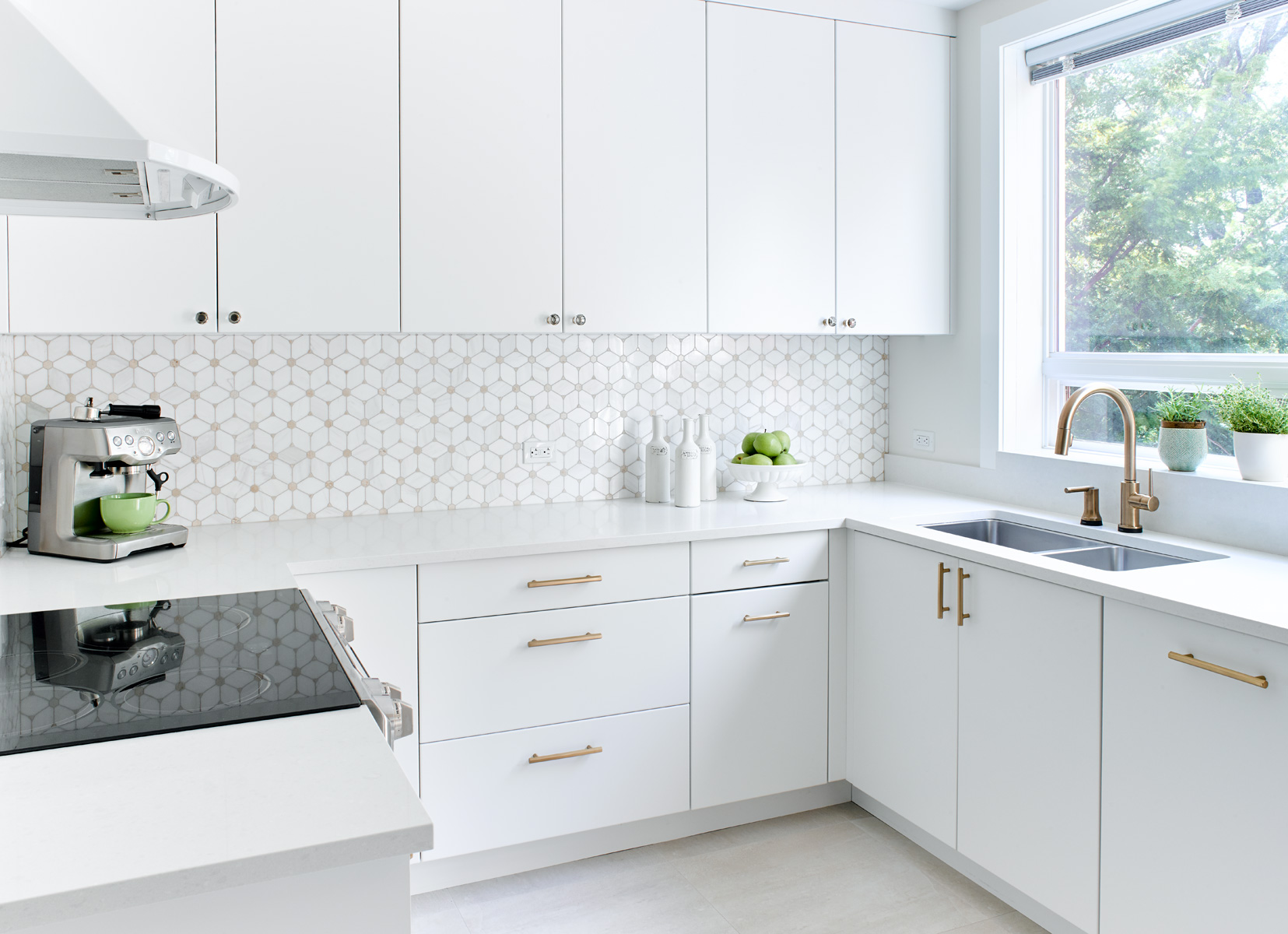 White Kitchen Brass Handles
