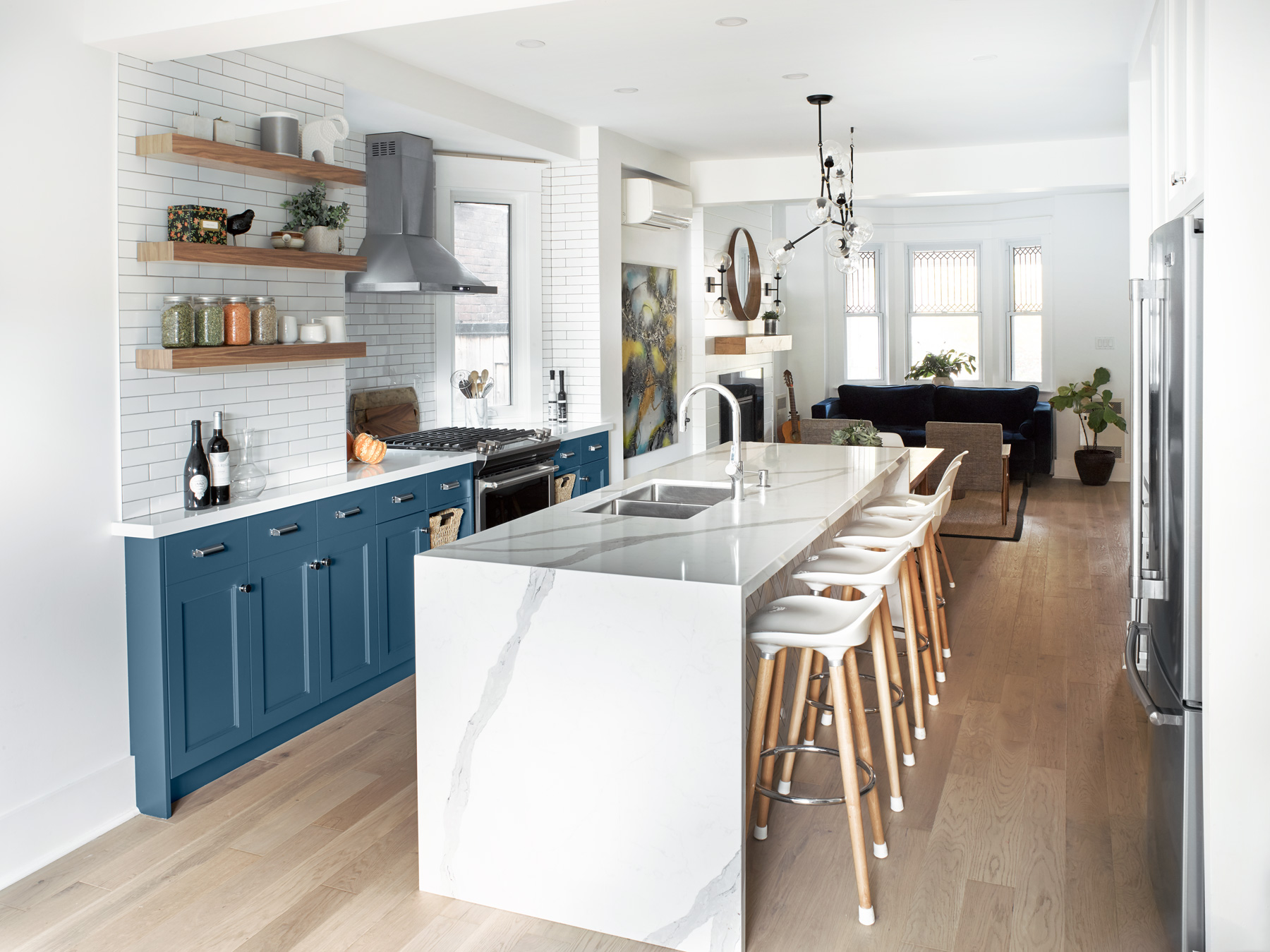 Transitional Kitchen with Blue Cabinetry