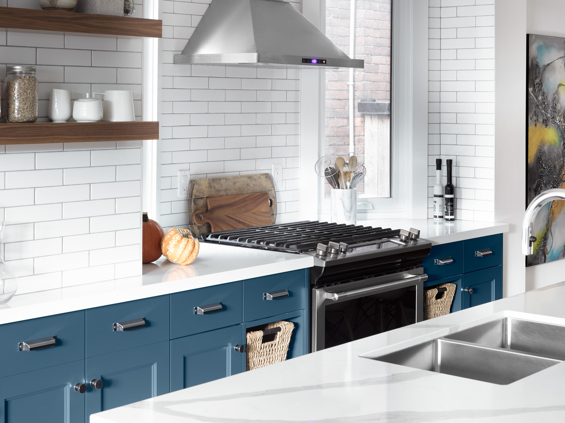 Blue Transitional Kitchen in Toronto Home