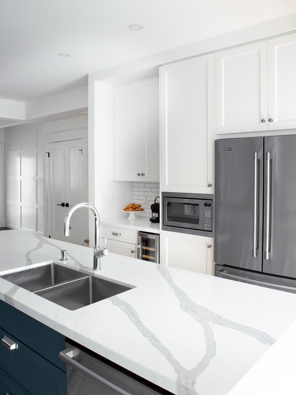White Quartz Countertop with Marble Veining