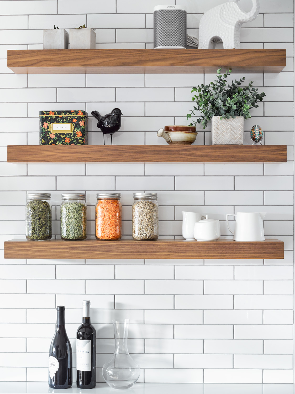 Floating Shelves with Subway Tiles
