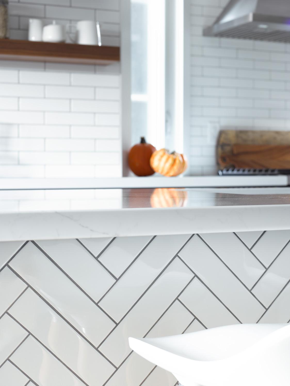 White Herringbone Tile in Kitchen