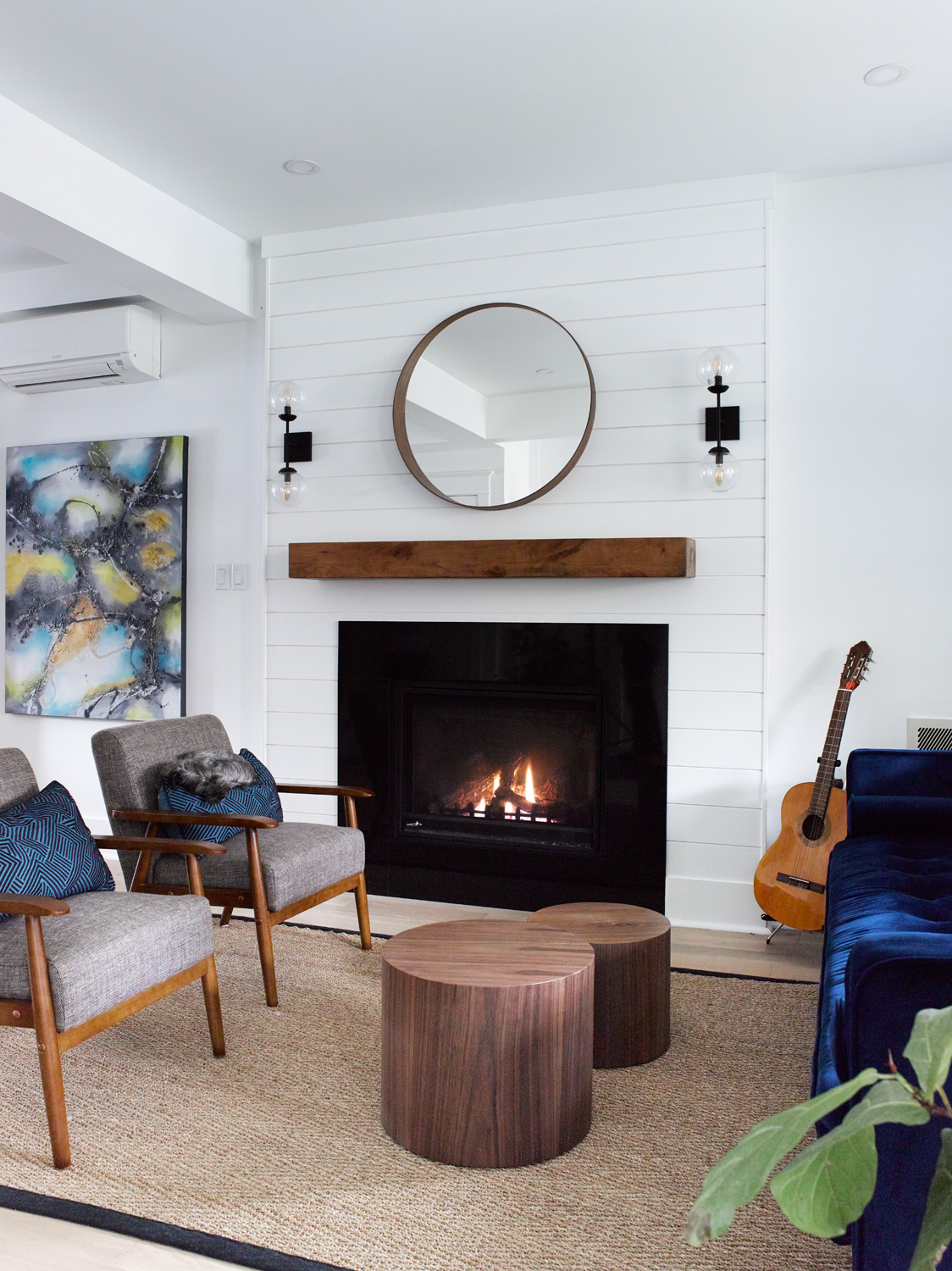 Shiplap Fireplace with Wood Mantle