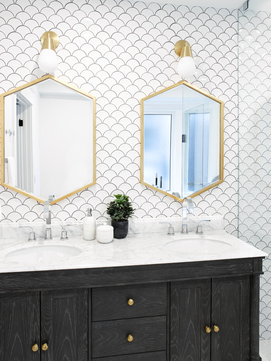 Transitional Vanity with Fish scale tile