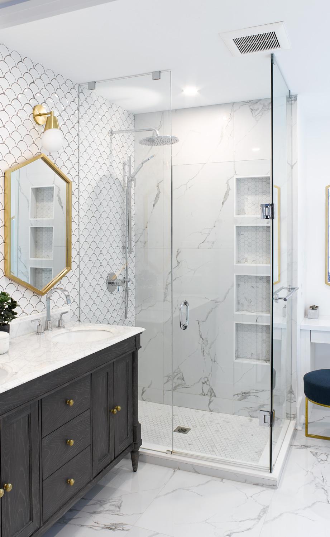 Custom Shower with Porcelain Tile