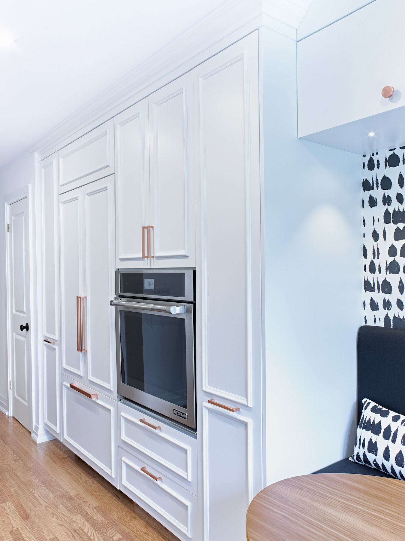Tall Pantry with Fridge and Wall Oven