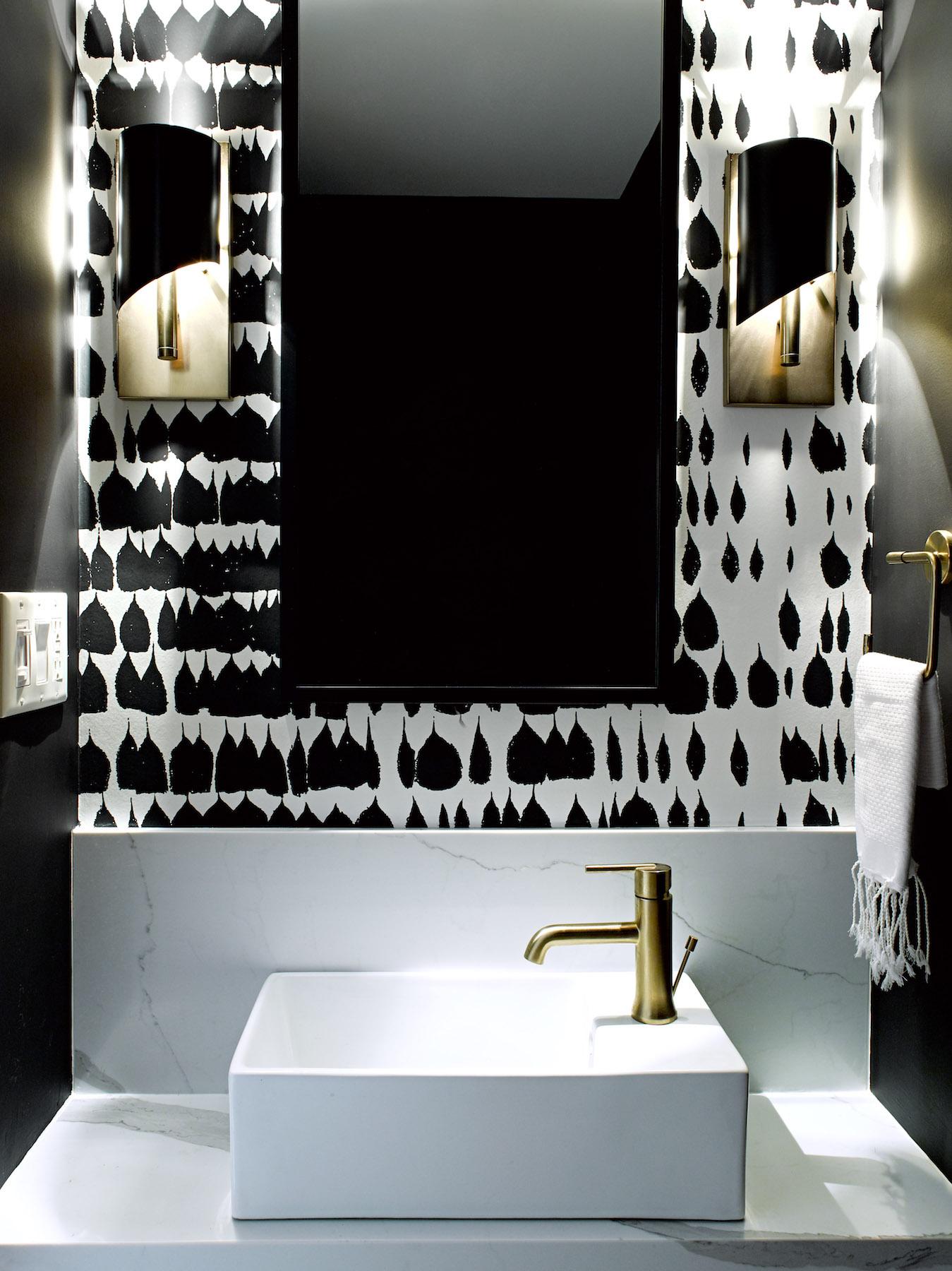 White and Black Powder Room