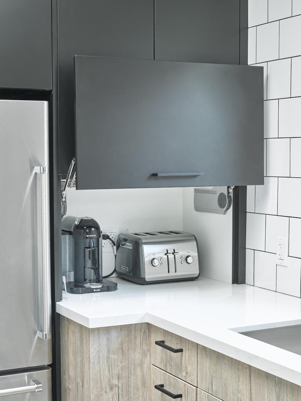 Black Laminate Appliance Garage Doors Open