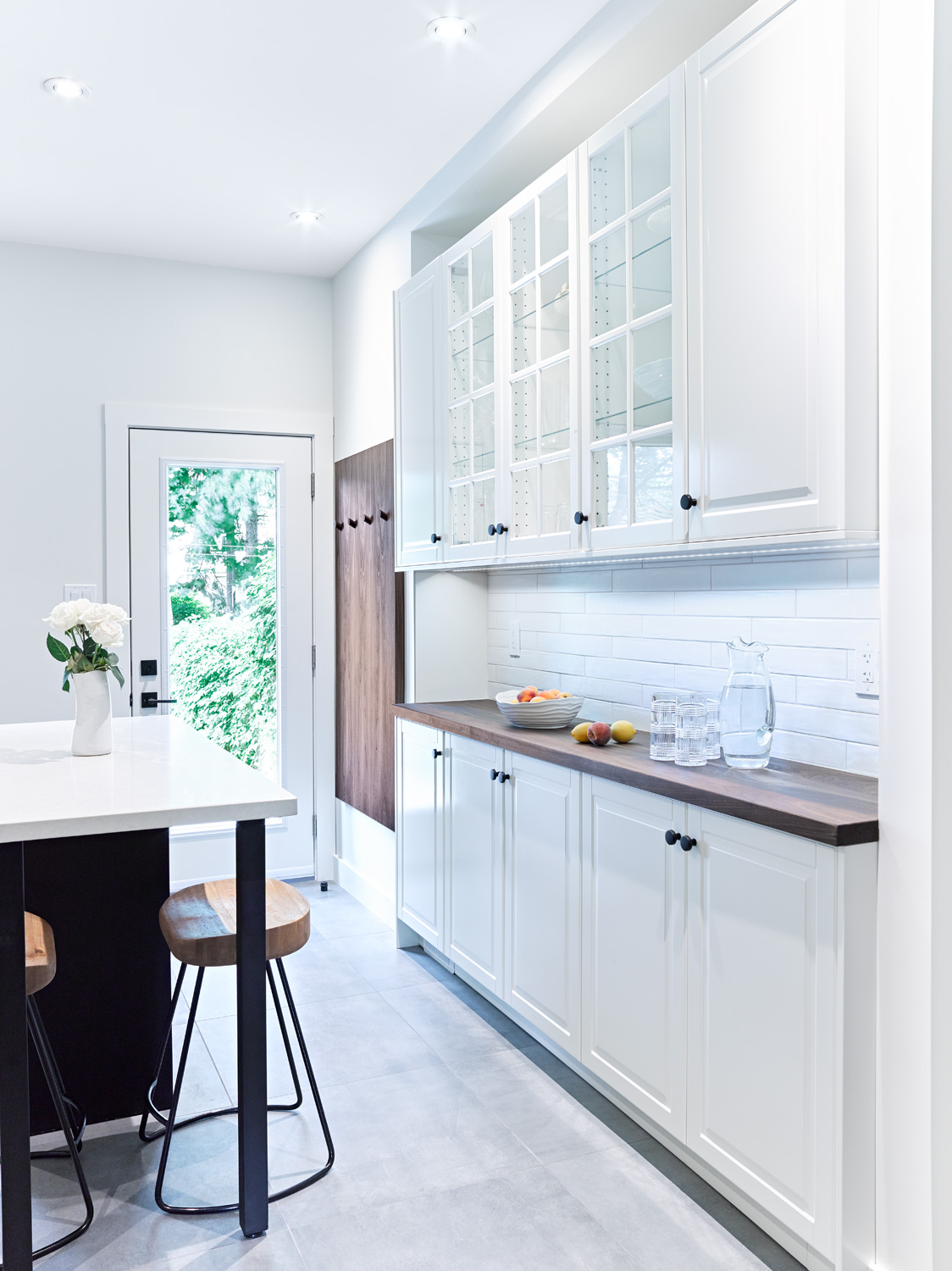 White Servery Area with Wood Countertop