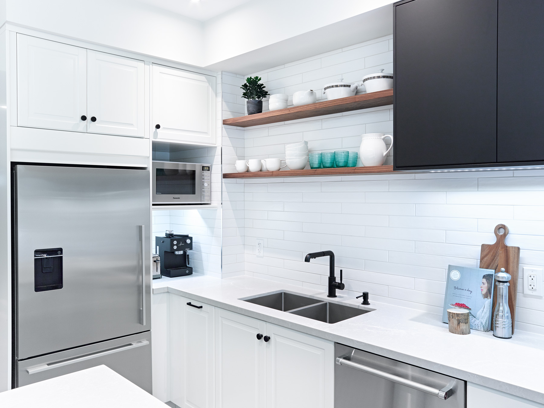 White Ikea Kitchen with Wood Shelves