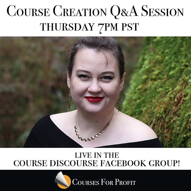 Mark your calendars! Coming up next week I will be hosting a free live Course Creation Q&A session over in the Course Discourse Facebook Group: www.facebook.com/groups/coursediscourse. 7PM Pacific (10 PM Eastern). Bring your most pressing questions about anything related to putting your knowledge and passion into course form, and invite a friend!  #course #coursecreation #coursecreators #coursecreator #entrepreneurlife #entrepreneuher #entrepreneur #girlboss #ladyboss #entrepreneurlifestlye #growyourbusiness #onlinebusiness #onlinebusinesstraining #teachme #learn #qanda #qandathursday #facebook #workshops #followyourdreams #followyoursoul #followyourpassions #dreambig #createacourse #teach #teachonline