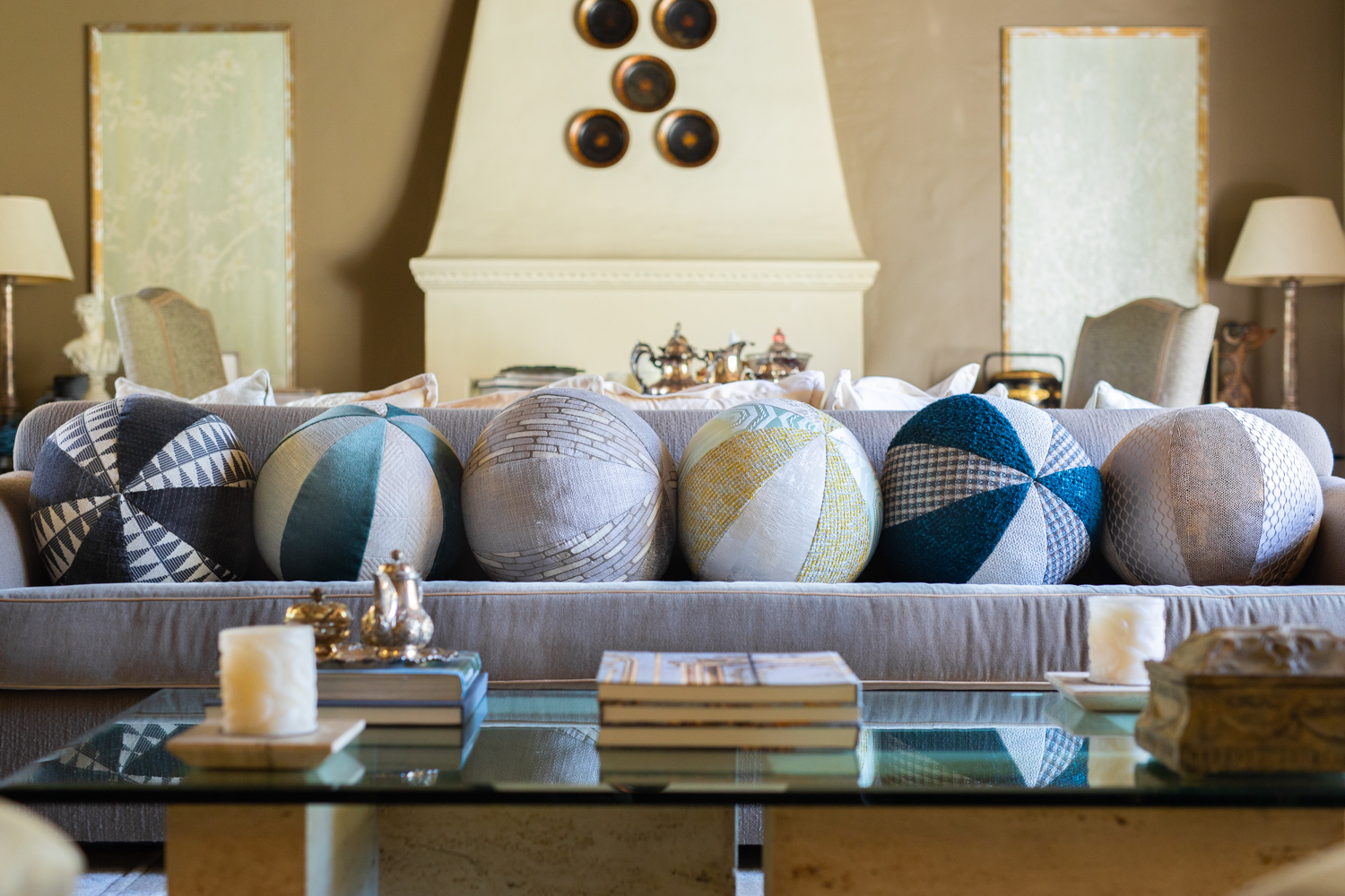 Ball Pillows - Liven up your home with our fun ball pillows. Available in both indoor and outdoor fabrics, they are charming additions for bedrooms and patios alike. Mix and match styles and sizes for a look that's uniquely you. Filled with trillium, they are an eco-friendly and hypoallergenic alternative to traditional down pillows.